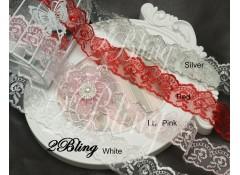 Non Stretch Lace Trim, Embroidery Organza - 4cm -1m length