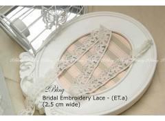 Non Stretch Lace Trim,Embroidery ,  Soft Gauze (ET.a) - 2.5cm -1m length