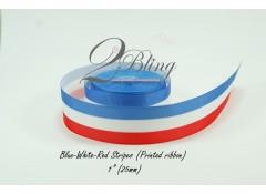Grosgrain Ribbon, Printed Blue-White-Red Stripes - 2m length
