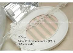 Non Stretch Lace Trim, Embroidery, Soft Gauze (ET.c) - 9.5cm -1m length