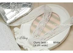 Non Stretch Cluny Lace Trim, White (4cm) - 1m length