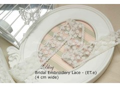 Non Stretch Lace Trim, Embroidery, Soft Gauze (ET.e) - 4cm -1m length