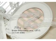 Non Stretch Lace Trim, Embroidery,  Soft Gauze (ET.f) - 2.5cm -1m length