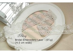 Non Stretch Lace Trim, Embroidery , Soft Gauze (ET.g)  - 4.5cm -1m length