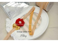 Fold Over Elastic, Orange Glittery - 1.5cm wide - 2m length