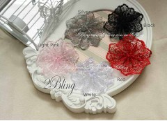Embroidery Lace Flower, 8cm, Pack of 3