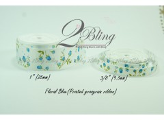 Grosgrain Ribbon, Printed Floral Blue - 2m length