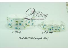 Grosgrain Ribbon, Printed Floral Blue - 2m length