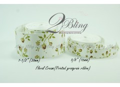 Grosgrain Ribbon, Floral Cream - 2m length