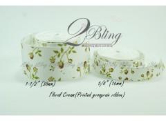 Grosgrain Ribbon, Floral Cream - 2m length