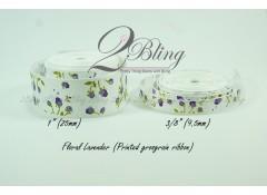 Grosgrain Ribbon, Printed Floral Lavender - 2m length