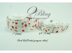 Grosgrain Ribbon, Printed Floral Red - 2m length