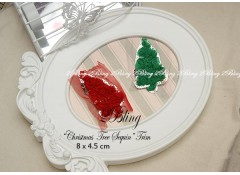 """Christmas Tree"" Silver Sequin, Pack of 2,  SMALL size"