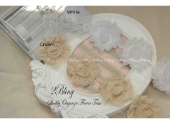 "Shabby flowers ""ORGANZA"" - 8cm (Pack of 4)"
