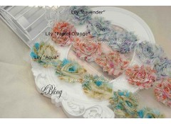 "Shabby Flowers, ""LILY"""" Pattern - 6.5cm (Pack of 4)"
