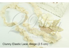 Cluny Elastic Lace Trim - 1m length