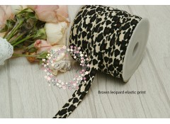 Fold Over Elastic - Print (Brown Leopard))  - 2m length