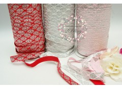 Fold Over Elastic , SILVER FOIL, CLASSIC damask - 1.5cm - 2m Length