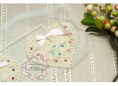 Heart Beige Vinty trim applique, 7x8 cm