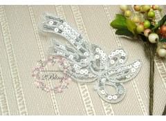 Long Silver Sequin trim applique, 14x6.5 cm