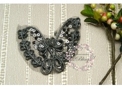 Butterfly Black Sequin trim applique, 9.5x9 cm