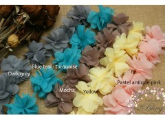 Peonies Chiffon Flower Trim (LARGE) - 8 cm (Pack of 6)