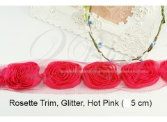 Hot pink Rosette Trim - Subtle Glitter - 5 cm - Pack of 6