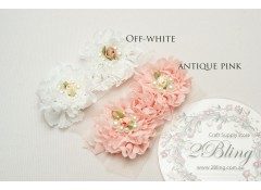 Ruffle Chiffon Flower trim - 5cm (Pack of 2)