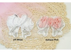 Sequin Chiffon BOW, Silver, Pack of 2
