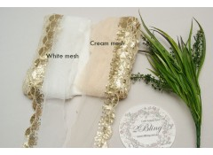 Sequin Lace, GOLD, Scalloped Edge Trim, CREAM mesh - 1m length