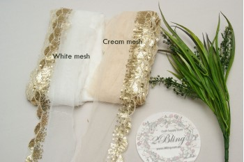 Sequin Lace, GOLD, Scalloped Edge Trim, WHITE mesh - 1m length