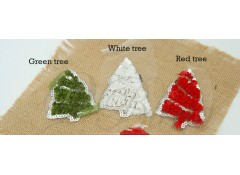 """Christmas Tree"" Silver Sequin, Pack of 2,  MEDIUM size"