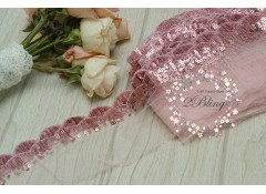 Sequin Lace, PINK, Scalloped Edge Trim - 1m length