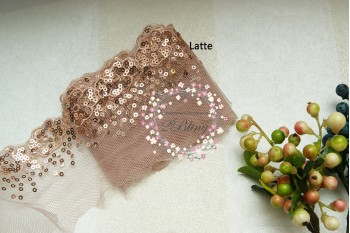 Sequin Lace,LATTE, Flower Edge Trim - 1m length