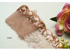 Sequin Lace, LATTE, Scalloped Edge Trim - 1m length