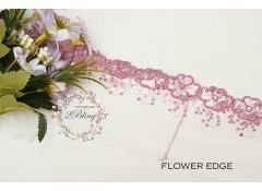 Sequin Lace, GRAPE, Flower Edge Trim, white mesh - 1m length