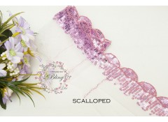 Sequin Lace, GRAPE, Scalloped Trim, white mesh - 1m length
