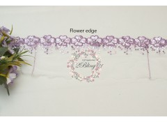 Sequin Lace, LAVENDER, Flower Edge Trim, white mesh - 1m length