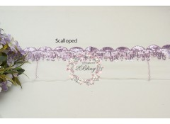 Sequin Lace, LAVENDER, Scalloped Trim, white mesh - 1m length