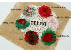 "Shabby Flower ""Christmas"" Pattern - 6.5 cm (Pack of 4)"