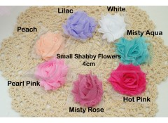 SMALL Shabby flowers  (Pack of 6) - 4cm