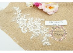 Bridal Lace Embroidery Motif 10, Off-white, 21x9 cm
