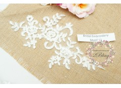 Bridal Lace Embroidery Motif 11, Off-white, 24x13 cm
