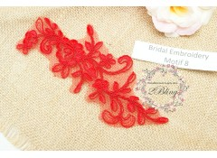 Bridal Lace Embroidery Motif 8, Red, 16x6 cm