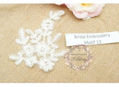 Bridal Lace Embroidery Motif 13, Off-white, 10.5x9 cm
