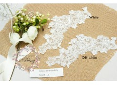 Bridal Lace Embroidery Motif 15 (Pearls & sequins), 23x9  cm