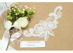 Bridal Lace Embroidery Motif 16, 20.5 x 9  cm