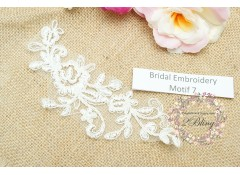 Bridal Lace Embroidery Motif 7, Off-white, 16x6 cm