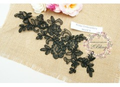Bridal Lace Embroidery Motif 9, Black, 26x11 cm