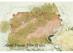 Embroidery Motif - Gold Flower trim (3cm) - 1m length